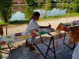 Malen vor dem malerischen Hintergrund des Büchenbacher Dorfweihers.