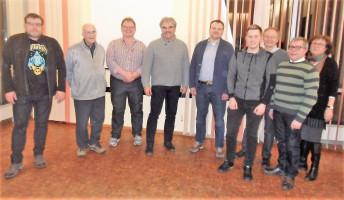 Die zwei neuen Mitglieder Jochen Ludwig uns Eberhard Konradt (1.u.2.v.l.) und Juso-Vorsitzender Max Lindner (4.v.r.) zusammen mit den Vorstandsmitgliedern Robert Schuster, Ewald Rühl, Thomas Schulz, Wolfgang Schmid, Reinhard Scharf, Irene Schinkel