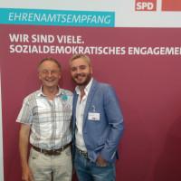 Wolfgang Schmid, Büchenbach, und Marcel Schneider, Rednitzhembach, beim SPD-Ehrenamtsempfang