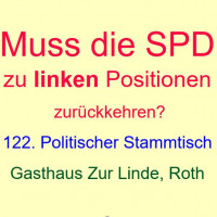 """Einladung zum 122. Politischen Stammtisch, """"Muss die SPD wieder zu linken Positionen zurückkehren?"""""""