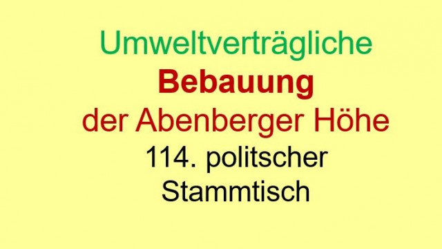 """""""Umweltverträgliche Bebauung der Abenberger Höhe"""""""